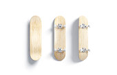 istock Blank wood skateboard mockup, front and back side 1239603695