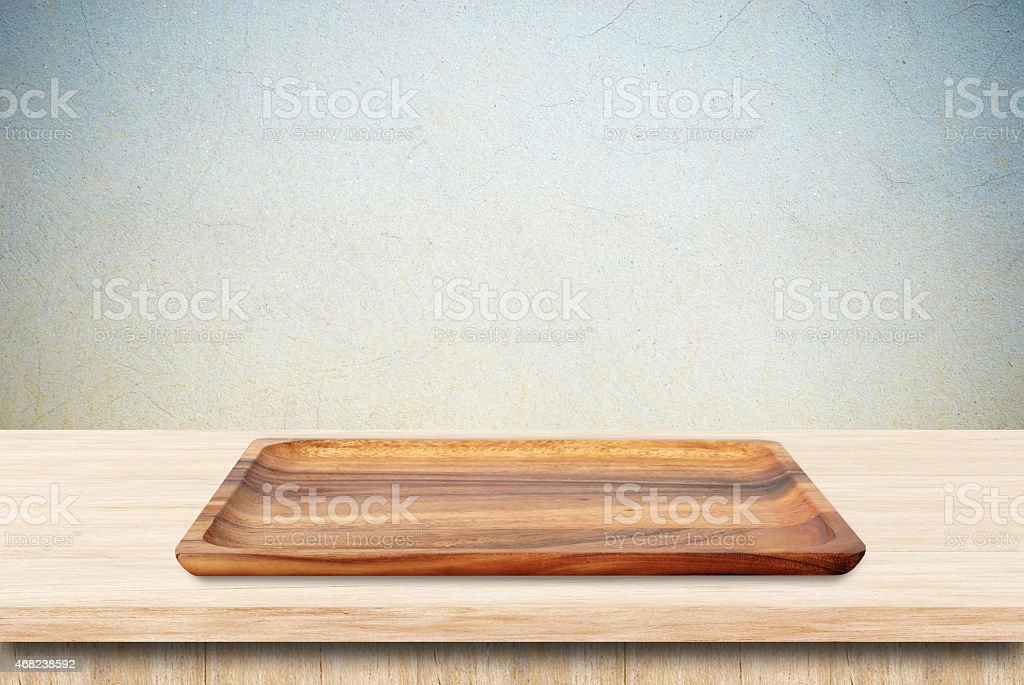 Blank wood tray on table background stock photo
