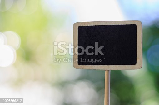 923869178 istock photo Blank wooden blackboard label against blurred natural green background 1006365212