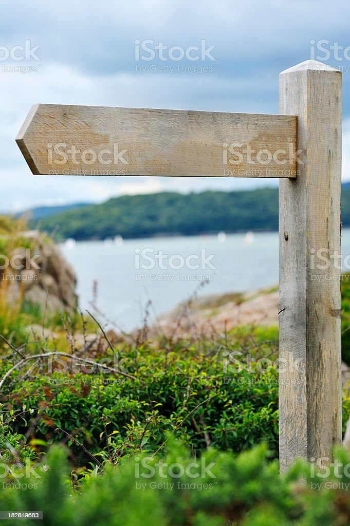 Blank wooden direction signpost in the Scottish countryside royalty-free stock photo