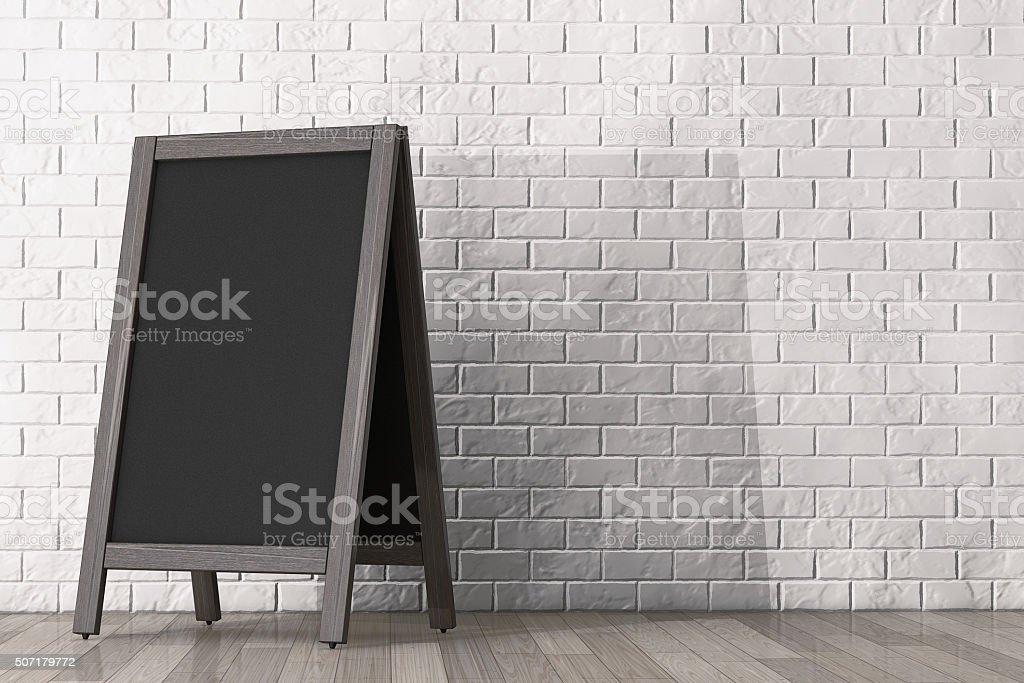 Blank Wooden Menu Blackboard Outdoor Display stock photo