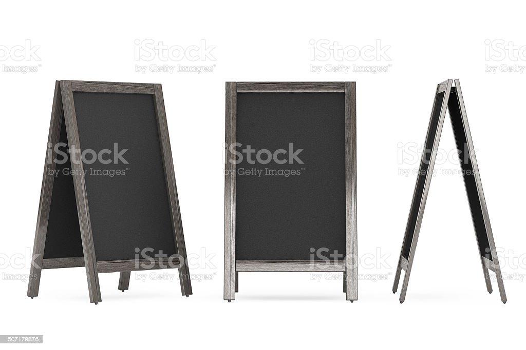 Blank Wooden Menu Blackboards Outdoor Display stock photo