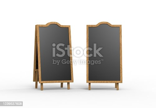 839409724 istock photo Blank wooden outdoor advertising stand mockup on isolated white background, 3d illustration. Clear street signage board mock up. 1239537608