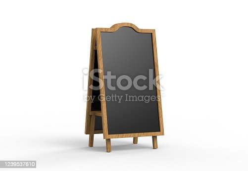 839409724 istock photo Blank wooden outdoor advertising stand mockup on isolated white background, 3d illustration. Clear street signage board mock up. 1239537610