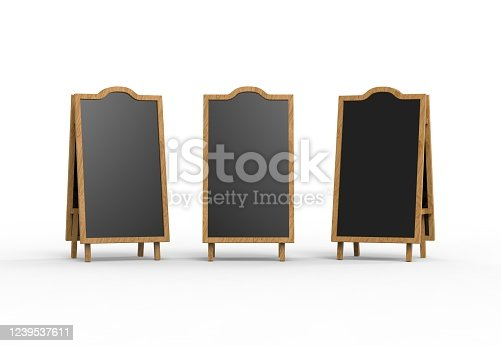 839409724 istock photo Blank wooden outdoor advertising stand mockup on isolated white background, 3d illustration. Clear street signage board mock up. 1239537611