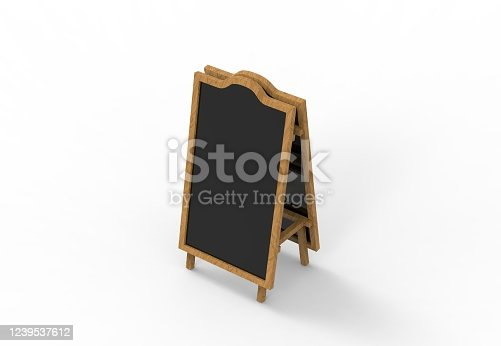 839409724 istock photo Blank wooden outdoor advertising stand mockup on isolated white background, 3d illustration. Clear street signage board mock up. 1239537612