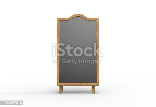 839409724 istock photo Blank wooden outdoor advertising stand mockup on isolated white background, 3d illustration. Clear street signage board mock up. 1239537613