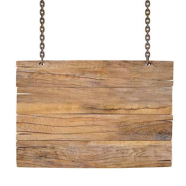 blank wooden sign hanging on chains - chain object stock photos and pictures