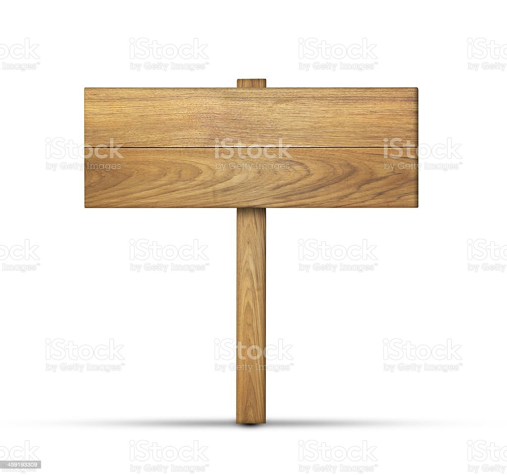 a blank wooden sign template on a white background stock photo
