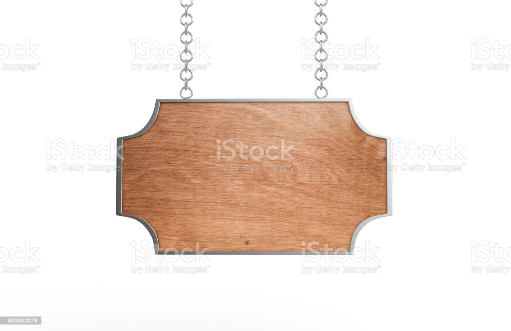 Blank Wooden Signboard stock photo