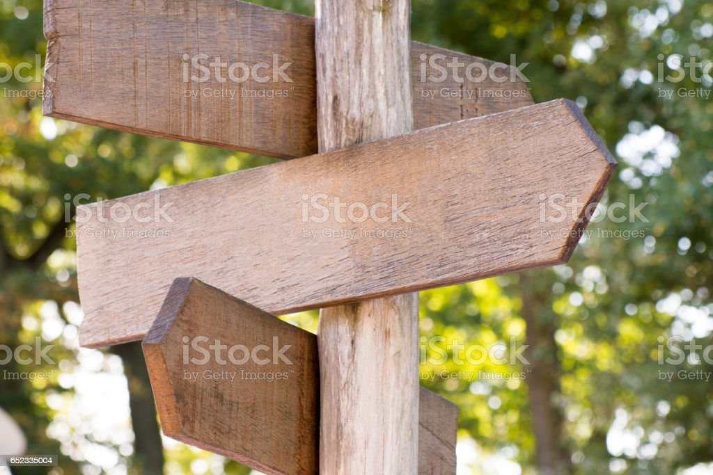 Blank wooden signpost in a nature with copyspace royalty-free stock photo