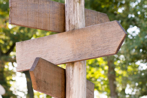 Blank wooden signpost in a nature with copyspace stock photo