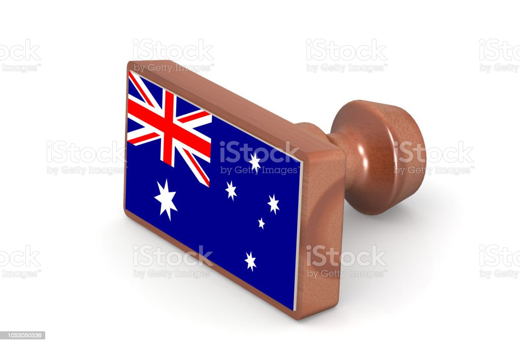 Blank wooden stamp with Australia flag stock photo