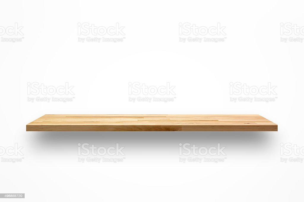 Blank wooden wall shelf on white background stock photo