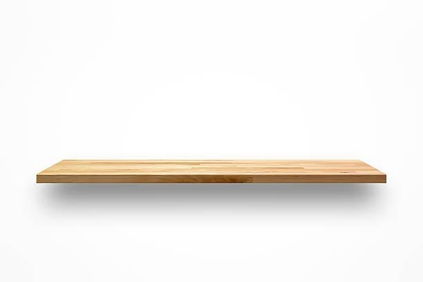 Vide mur en bois étagère sur fond blanc - Photo