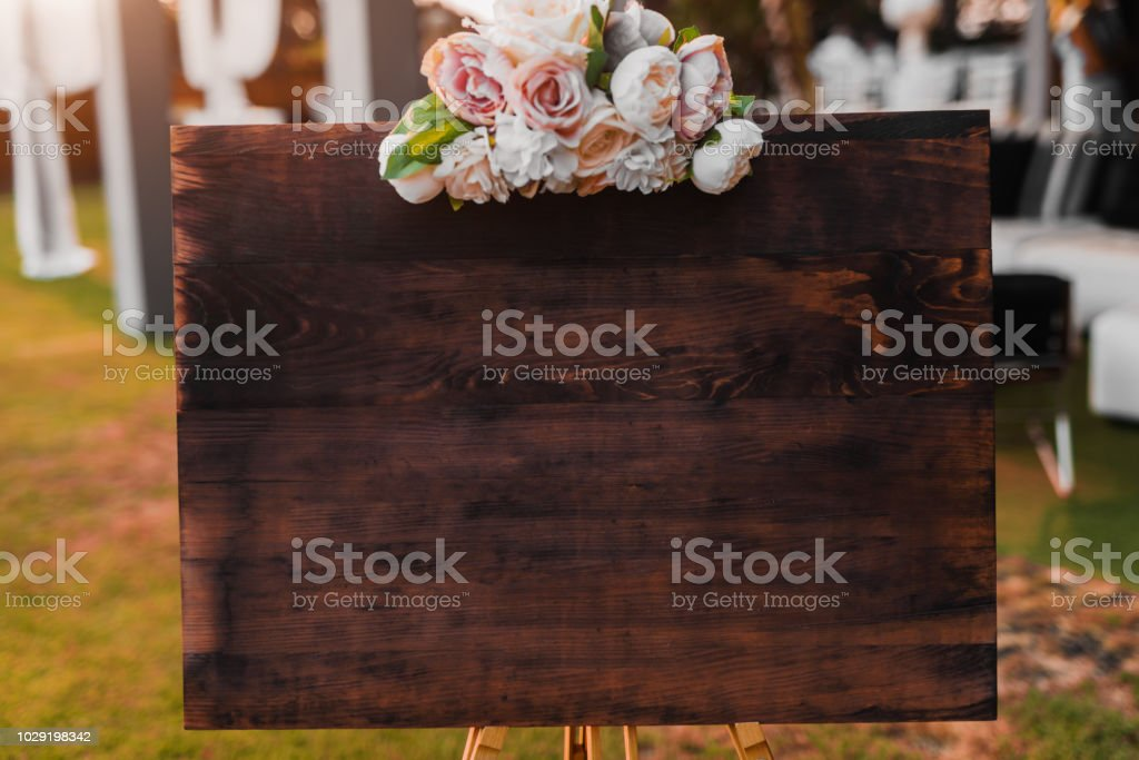Blank wooden welcome board. stock photo