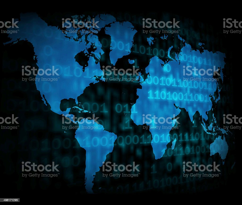 Blank World Map Shows Globe Or Earth Copyspace With Numbers stock photo