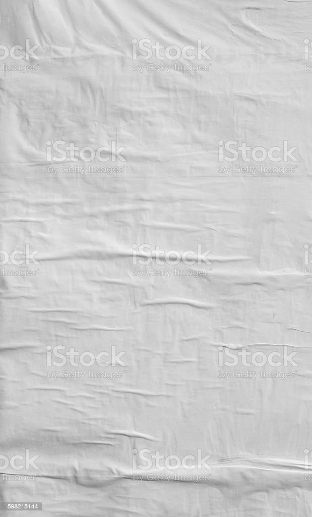 Blank wrinkled poster texture stock photo