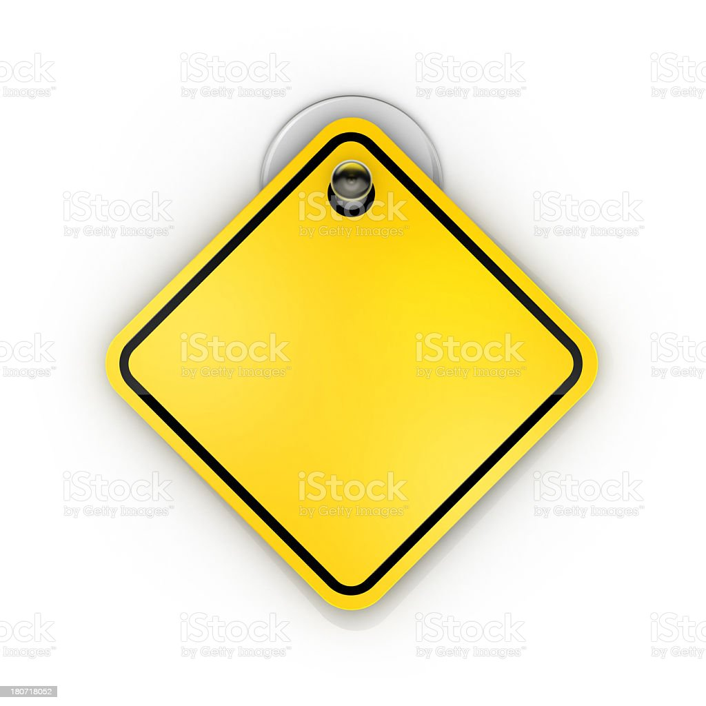 Blank yellow and black warning tag on suction cup stock photo