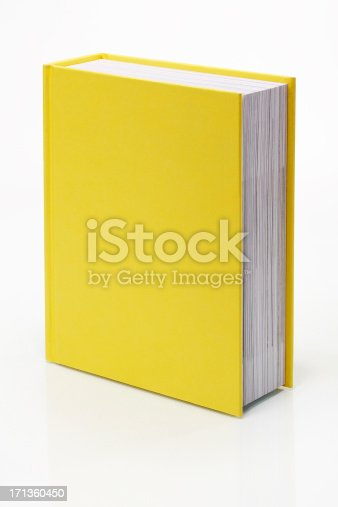 Blank yellow book with real reflection. Clipping path included to place book on any background.