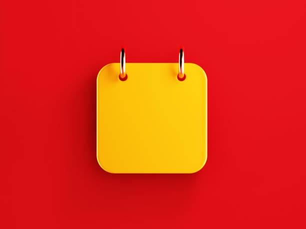 calendrier jaune blanc sur le fond rouge - calendrier digital journée photos et images de collection