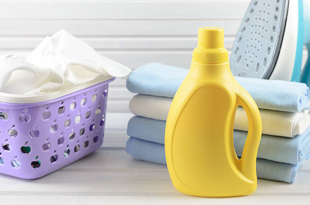 blank yellow detergent bottle - bleach stock pictures, royalty-free photos & images