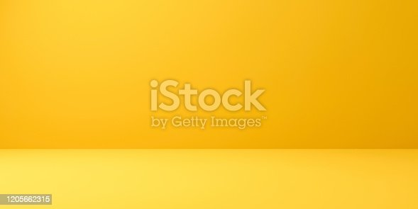 istock Blank yellow display on vivid summer background with minimal style. Blank stand for showing product. 3D rendering. 1205662315