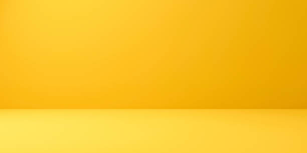 Blank yellow display on vivid summer background with minimal style. Blank stand for showing product. 3D rendering. stock photo