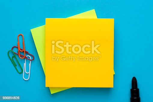 istock Blank yellow note for add text message 936854826