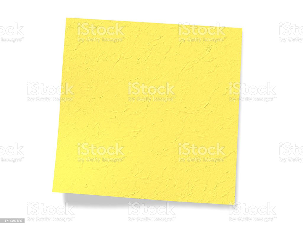 Blank yellow note (Clipping Path) royalty-free stock photo