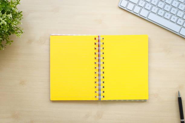 blank yellow pages open book minimal style. - post it notes zdjęcia i obrazy z banku zdjęć