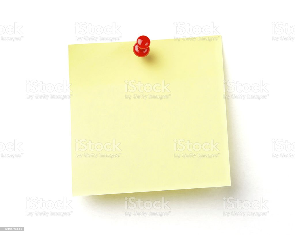Blank yellow post it with red push pin on white background royalty-free stock photo