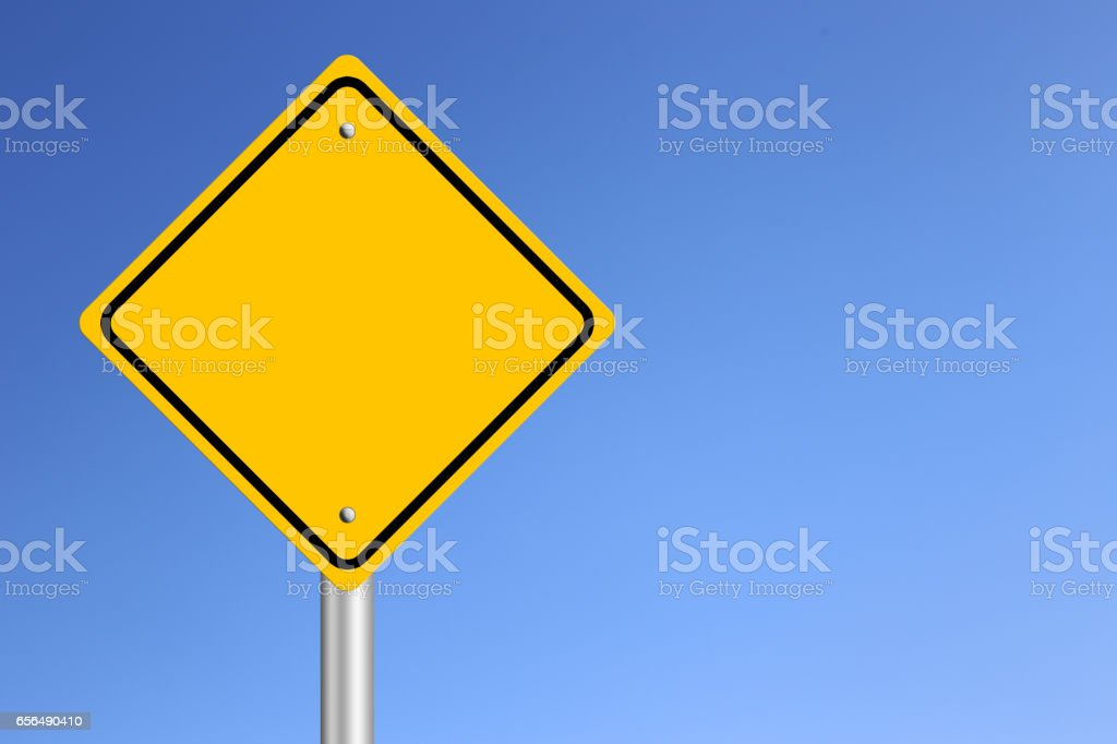 Blank Yellow  Road Sign stock photo
