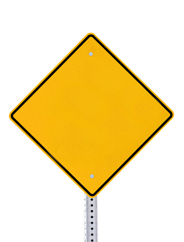 An empty yellow road traffic warning sign with black line border and a metal pole, isolated on a white background.  This blank sign can be used for business information communication, retail announcements, etc.