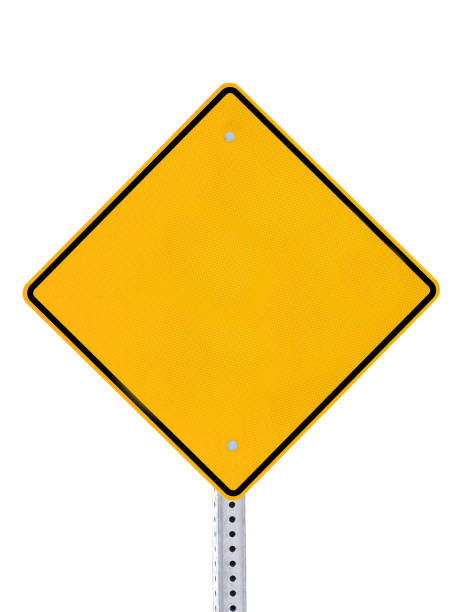 blank yellow road warning information sign isolated white background - road signs stock pictures, royalty-free photos & images