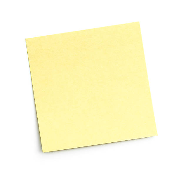 blank yellow sticky note on white background - adhesive note stock photos and pictures