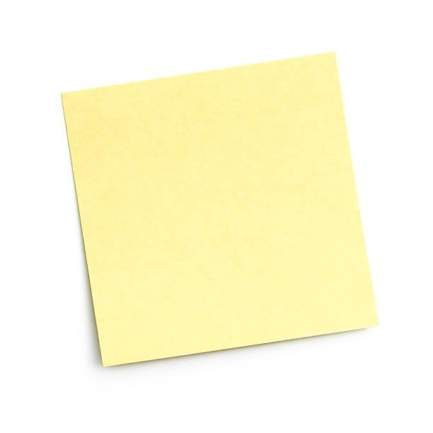 leere gelbe klebezettel auf weißem hintergrund - klebezettel stock-fotos und bilder