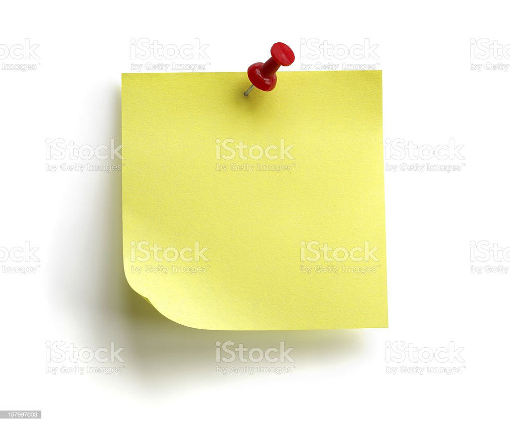 Blank yellow sticky note royalty-free stock photo