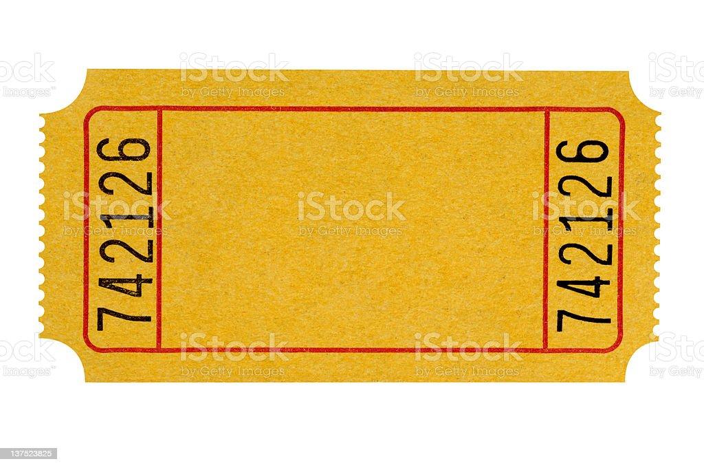 Blank yellow ticket stock photo