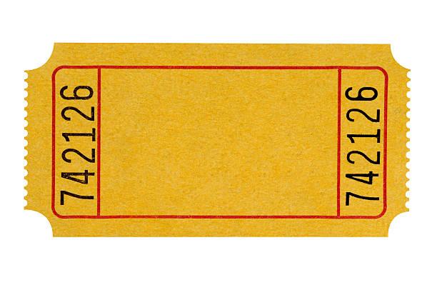 biglietto giallo vuoto - biglietto del cinema foto e immagini stock