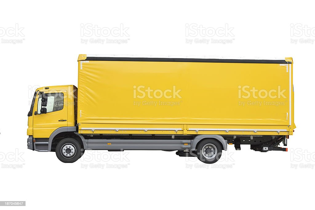 Blank yellow truck sideview isolated on white stock photo