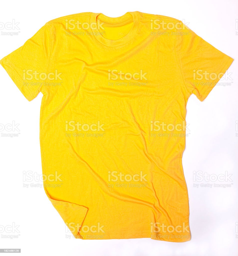 Blank Yellow T-Shirt Wrinkled stock photo