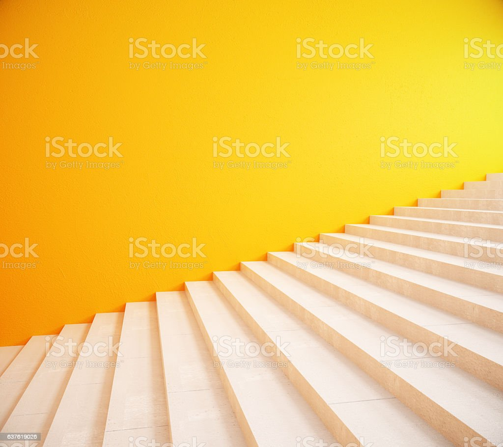 Blank yellow wall and stairs stock photo
