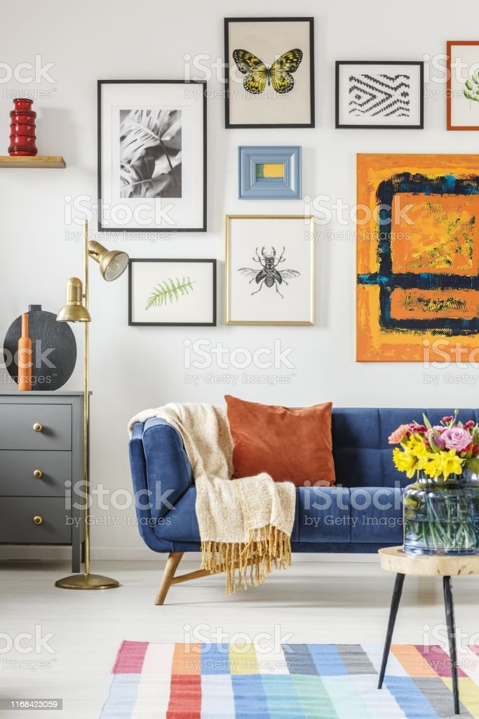 Cool Blanket And Pillow Placed On Navy Blue Couch Standing In Ncnpc Chair Design For Home Ncnpcorg