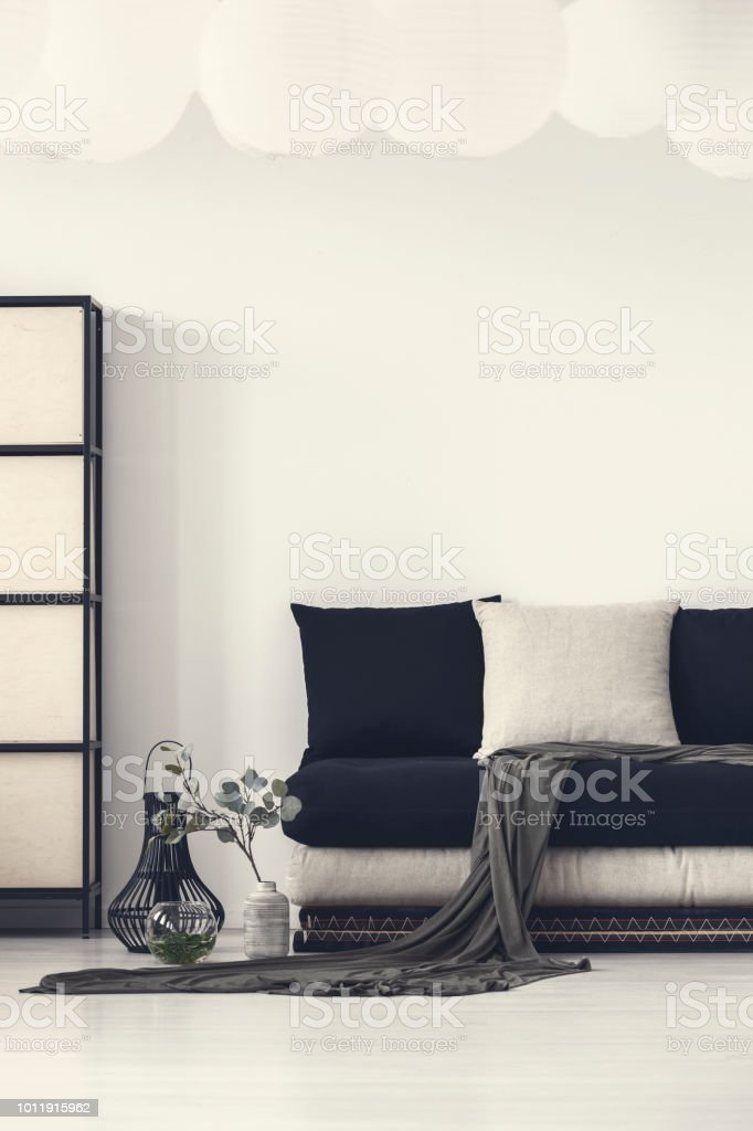 Pleasing Blanket And Pillows On Black Couch In White Modern Living Machost Co Dining Chair Design Ideas Machostcouk