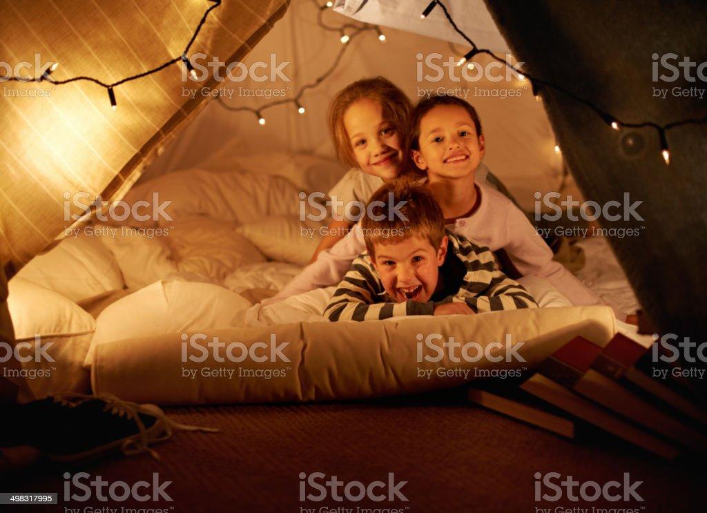 Blanket fort fun! stock photo