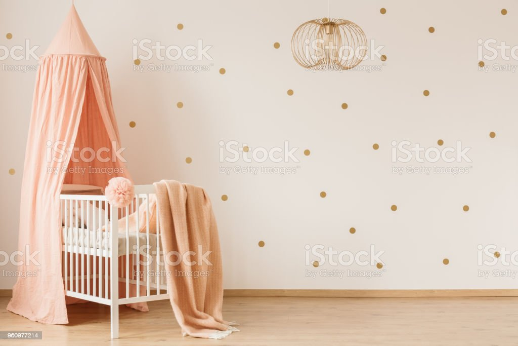 Blanket on crib stock photo