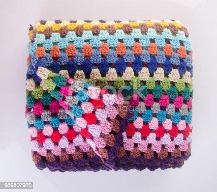 blanket or crochet blanket on a background