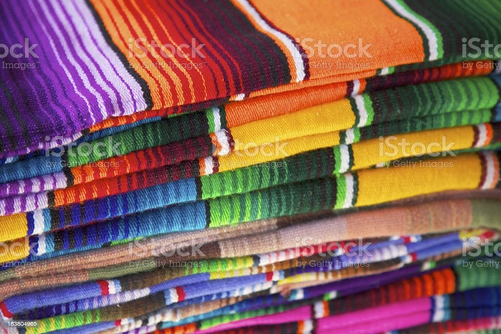 Blankets in Mexican Market royalty-free stock photo