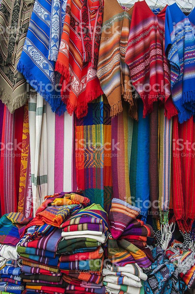 Blankets, Ponchos and Hammocks, market place in Ecuador stock photo